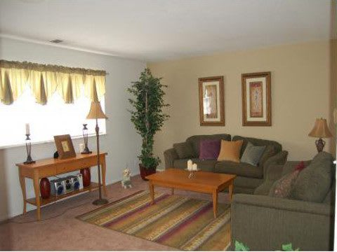 Apartment living room at Covington Square Apartments and Townhomes in IN.