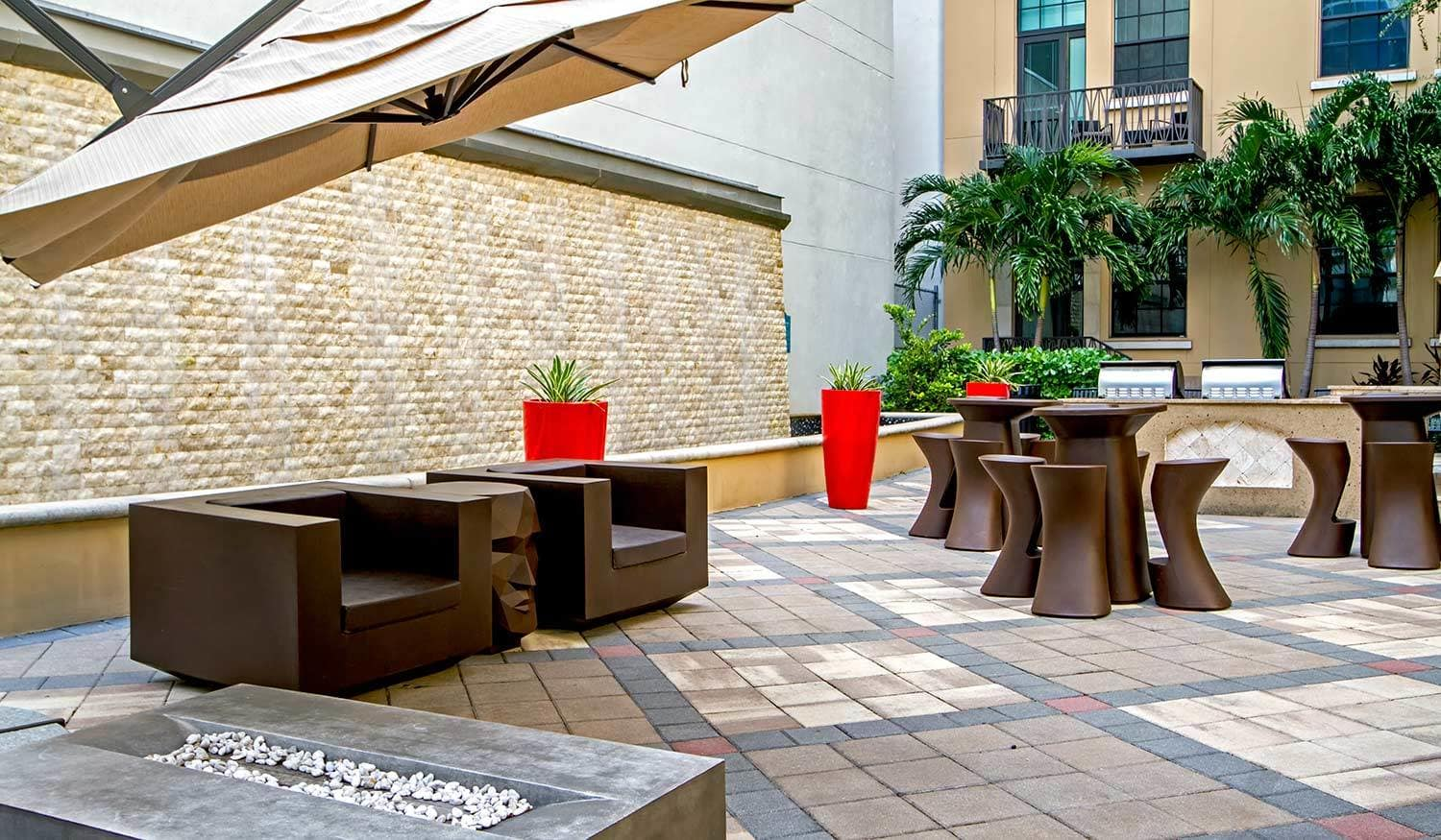 Outdoor fire pits at The Exchange Lofts in Fort Lauderdale, Florida