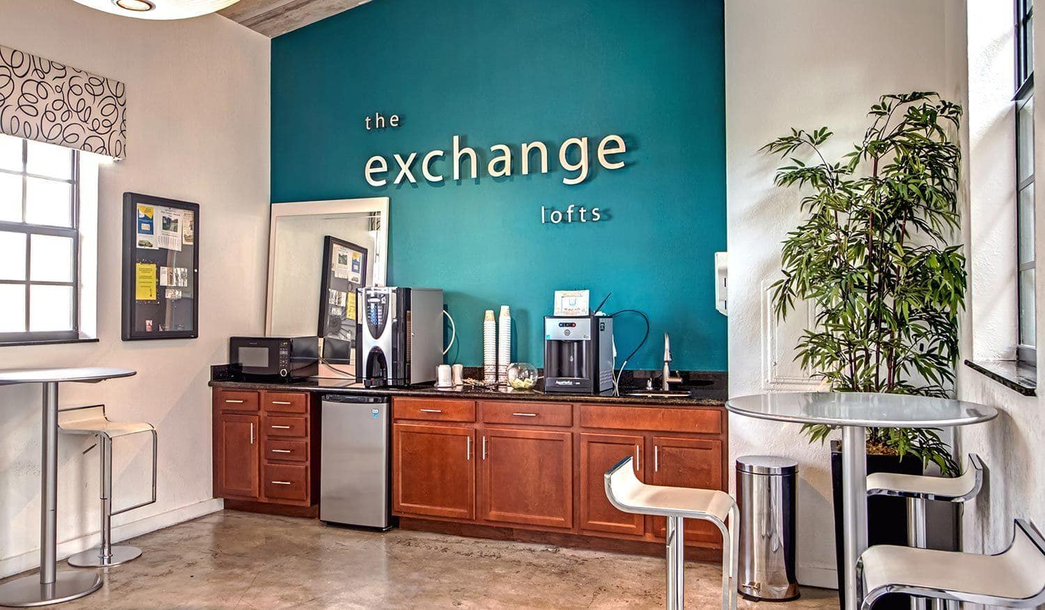 On-site cafe at The Exchange Lofts in Fort Lauderdale, Florida.