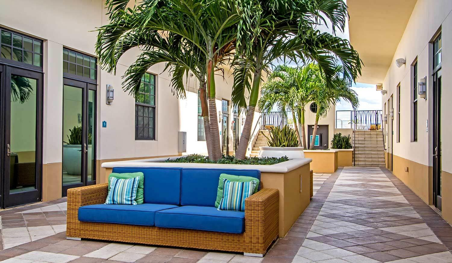 Outside sitting area at The Exchange Lofts in Fort Lauderdale, Florida