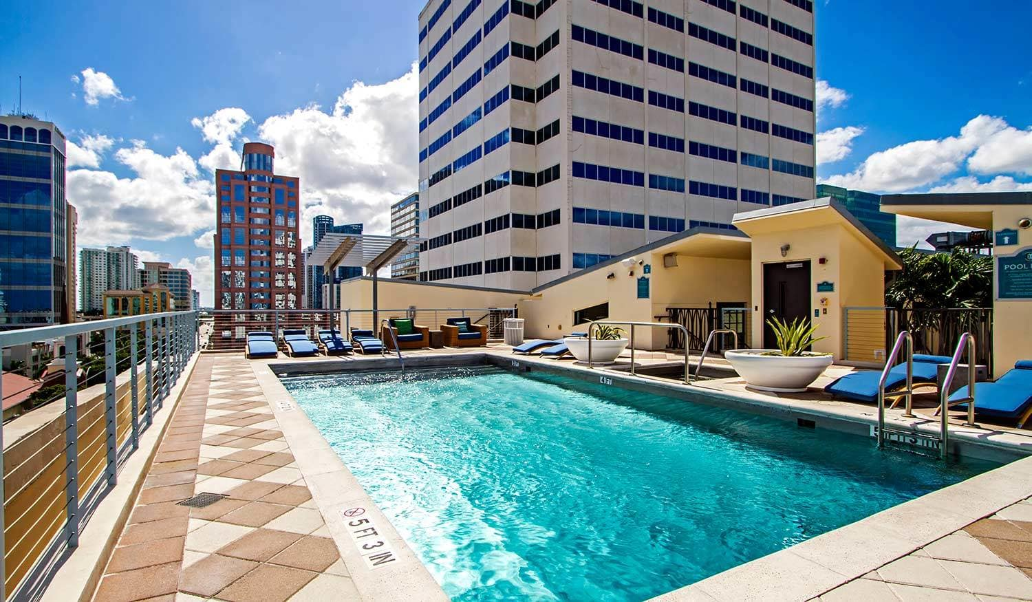 The rooftop swimming pool at The Exchange Lofts is a great place to relax - day and night in Fort Lauderdale, Florida!