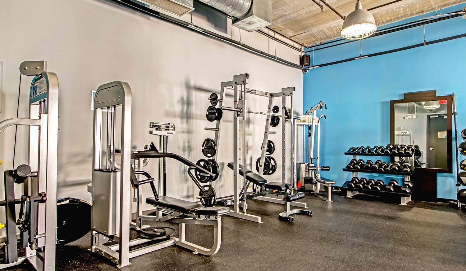 State-of-the-art fitness center at The Exchange Lofts in Fort Lauderdale, Florida