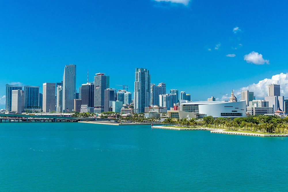 View of downtown from the ocean near Aliro in North Miami, Florida
