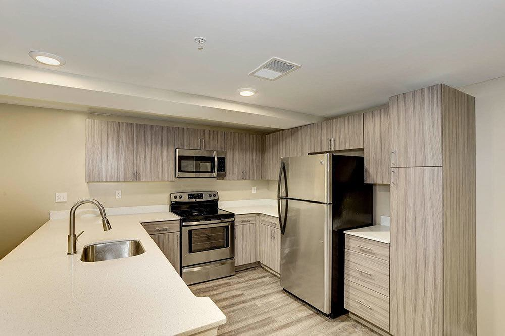 Example kitchen 1 at The Warwick Apartments