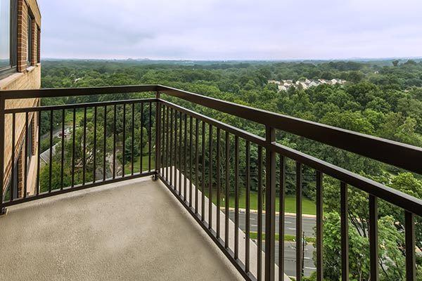 View from an apartment deck at The Warwick Apartments in Silver Spring