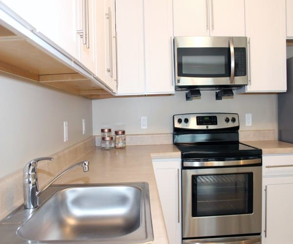 Stainless steel kitchen appliances at The Bohdi at Island Creek Village in Duxbury MA