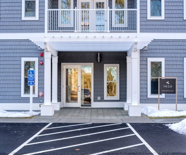 building entrance at The Elm at Island Creek Village in Duxbury, MA