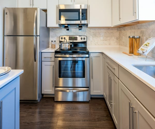 stainless steel appliances at The Elm at Island Creek Village in Duxbury, MA