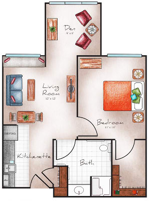 One bedroom floor plan at Orchard Pointe at Surprise
