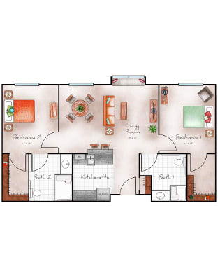 Two bedroom floorplan in Surprise, AZ
