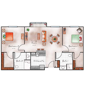 Assisted Living large two bedroom two bath at Orchard Pointe at Arrowhead