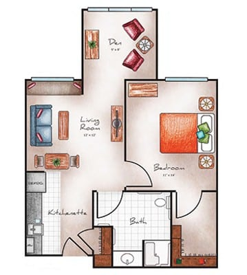 Assisted Living one bedroom with den at Orchard Pointe at Arrowhead