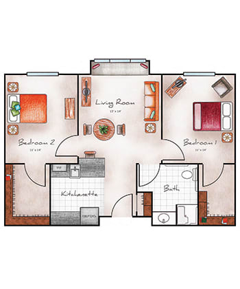 Assisted Living two bedroom at Orchard Pointe at Arrowhead in Glendale