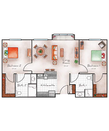Assisted Living two bedroom two bath at Orchard Pointe at Arrowhead in Glendale, AZ