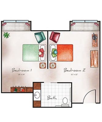 Memory Care companion suite at Orchard Pointe at Arrowhead