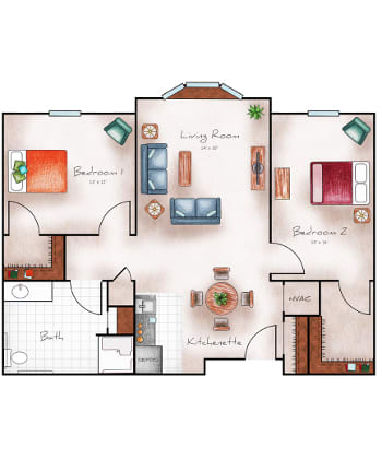 Assisted Living One Bedroom at The Heritage at College View