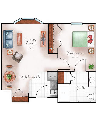 550 Sq ft floor plan