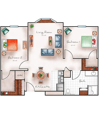 Assisted Living Two Bedroom at The Heritage at Shalimar Gardens