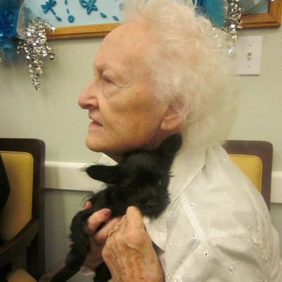 Pet therapy at Chateau Gardens Memory Care
