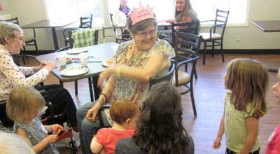 Family visitors at Chateau Gardens Memory Care.