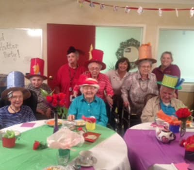 Mad Hatter Tea Party at Flower Mound Assisted Living.
