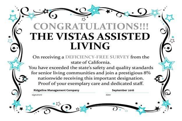 Congratulations The Vistas Assisted Living