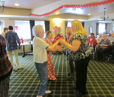 Dancing at Wood Ridge Assisted Living.