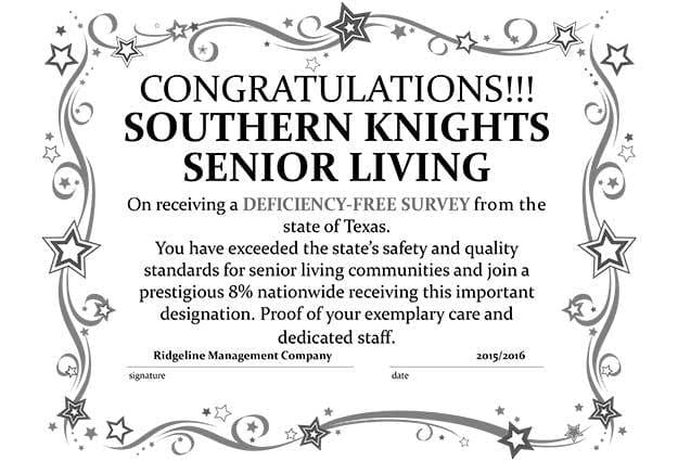 Southern Knights Senior Living Community is deficiency free