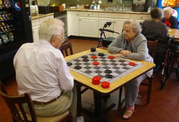Play a game of checkers at Eastlake Terrace.