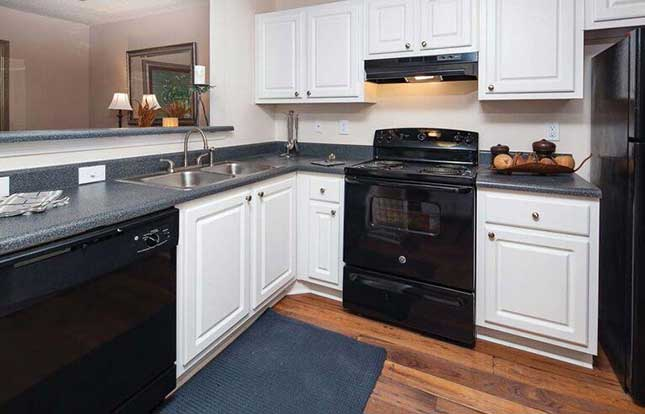 Kitchens are fully equipped at Belle Vista Apartment Homes.
