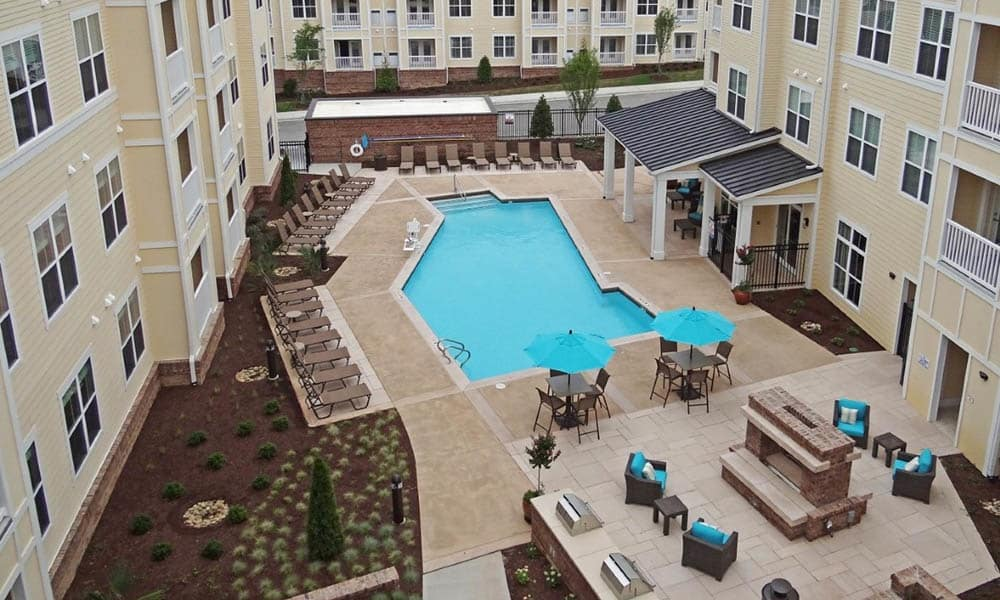 Overhead pool view in Raleigh