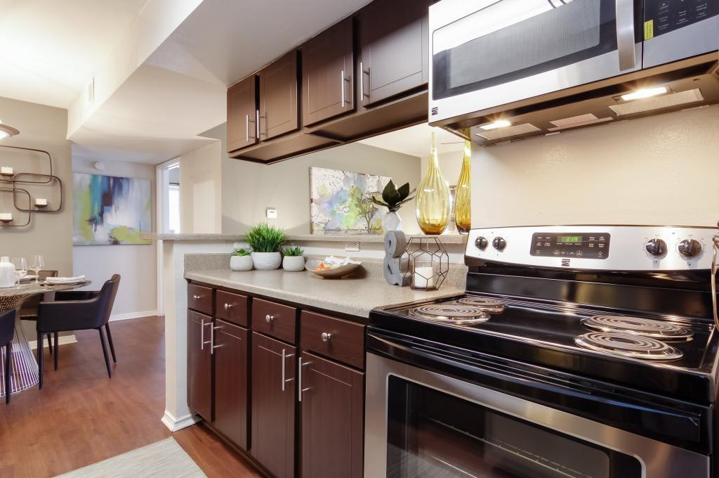 Spacious kitchen with hardwood floors at Circle at Point Park in Houston, Texas