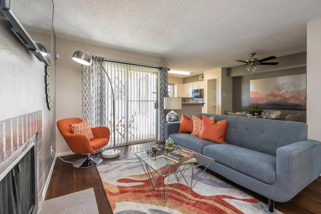 Stylish Living Room at The Carling on Frankford in Carrollton, TX