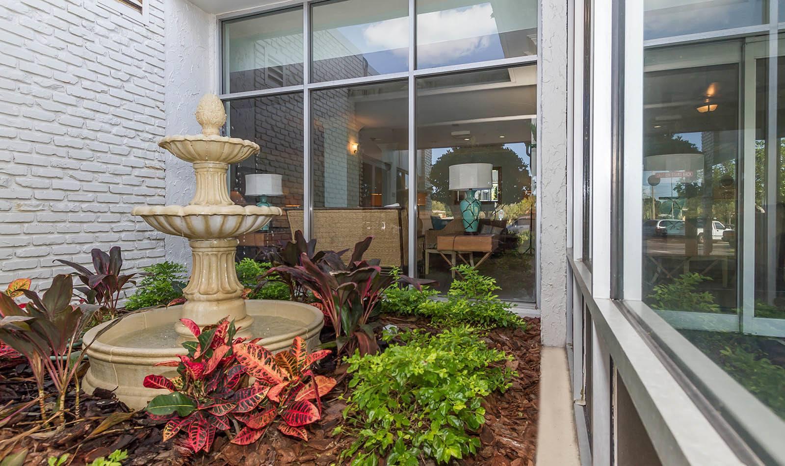Fountain at apartments in South Pasadena, FL