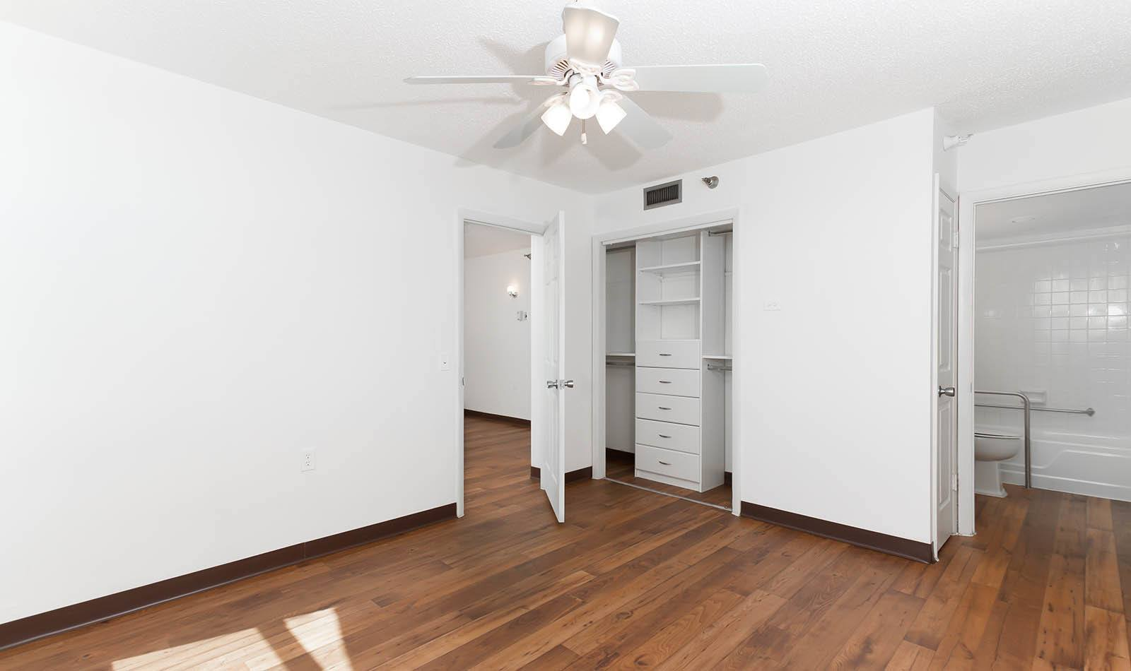 Hardwood floors at Bay Pointe Tower in South Pasadena, FL