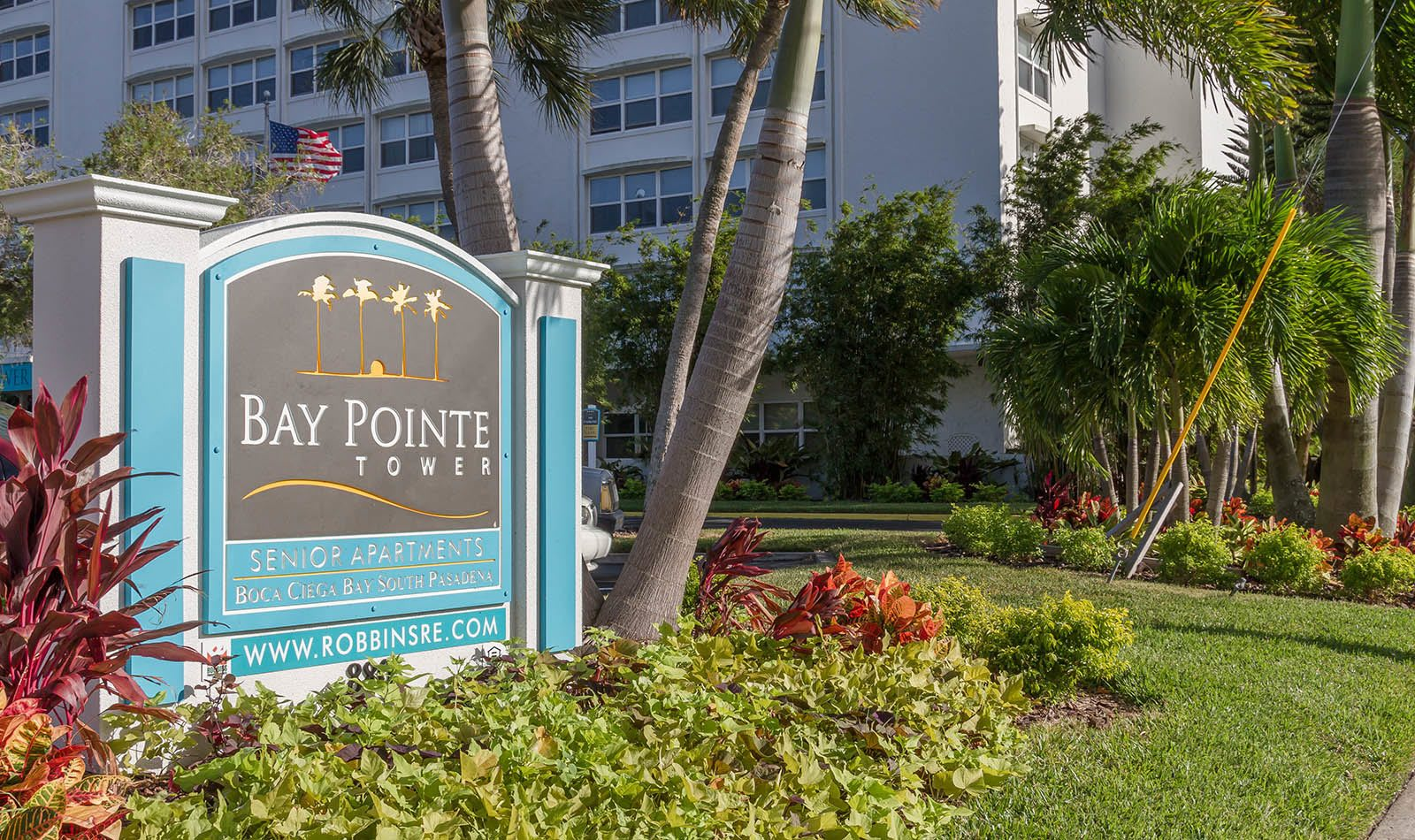 Signage at Bay Pointe Tower in South Pasadena, FL