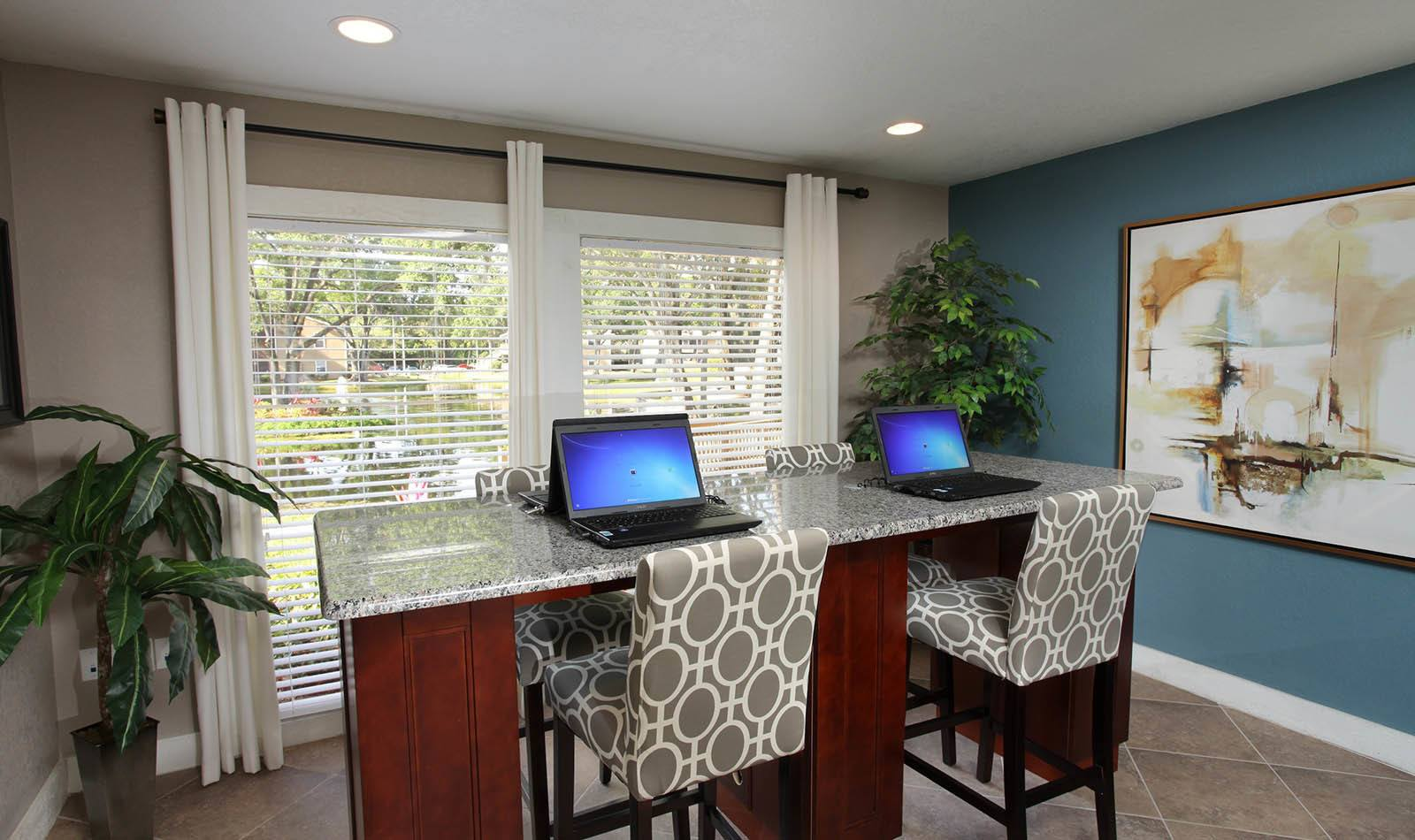 Business center at apartments in Tampa, FL