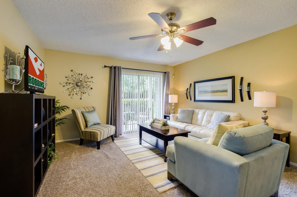 Living Room With Fan at Landmark at Amelia Ridge in Round Rock