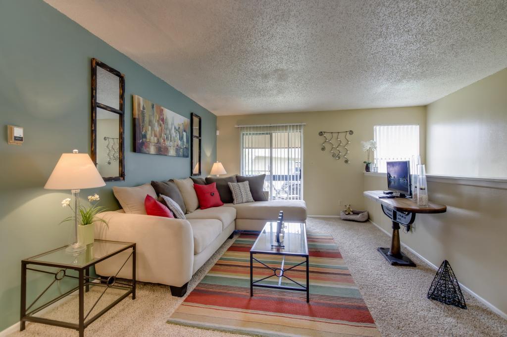 Living Area With Tv  at Landmark at Atrium Commons in San Antonio