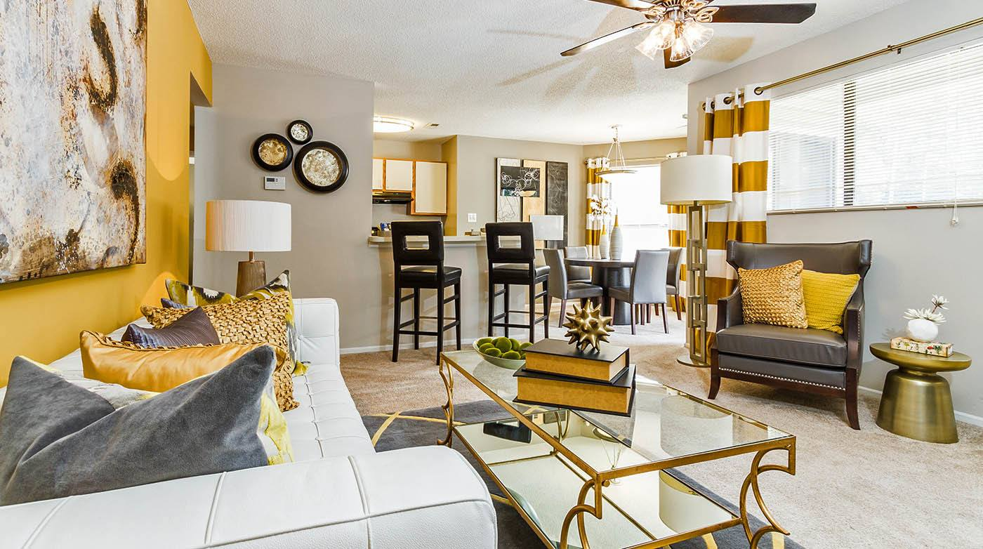 Furnished Living Room at Bridges at Mallard Creek in Charlotte, NC
