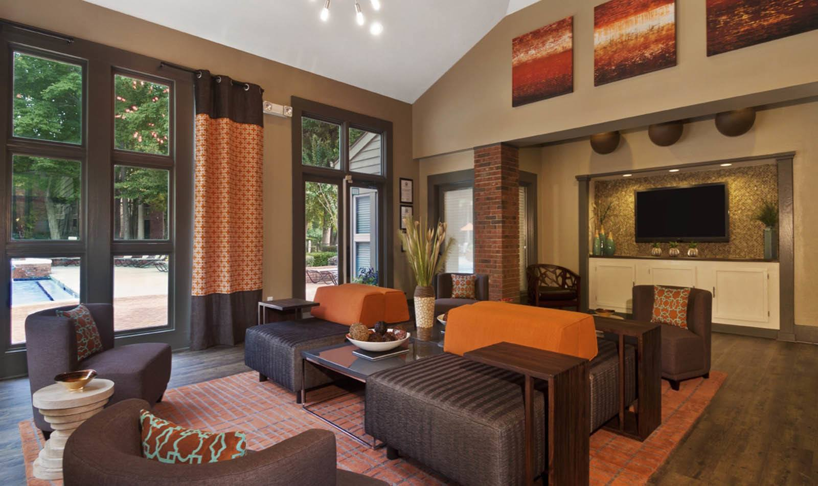 Clubhouse Seating Area at Paces Pointe in Matthews, NC