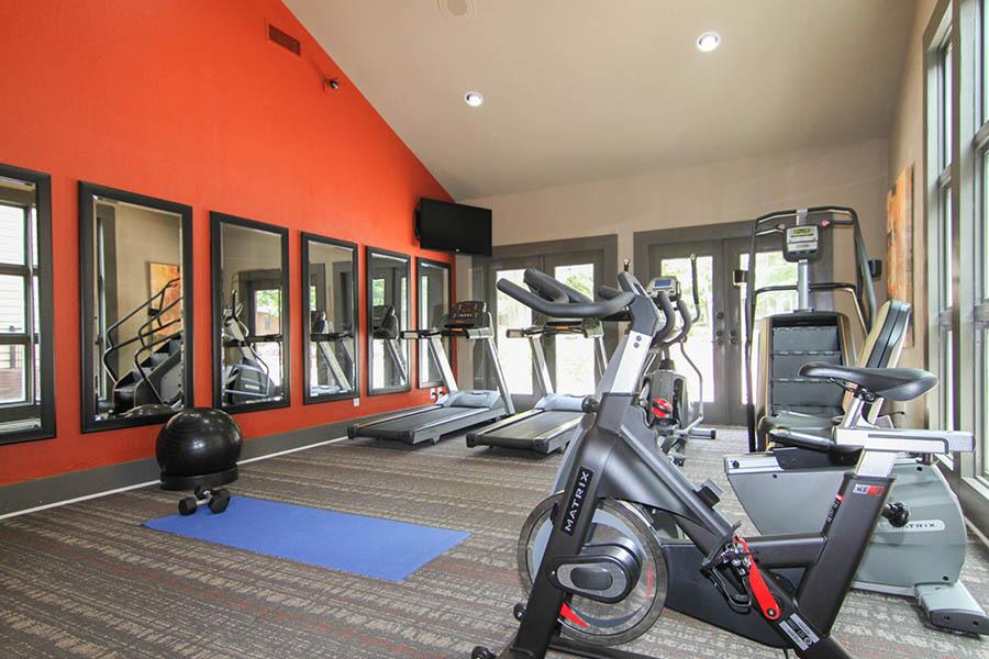 Fitness center at apartments in Matthews