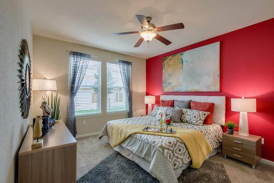 Bedroom at apartments in San Marcos