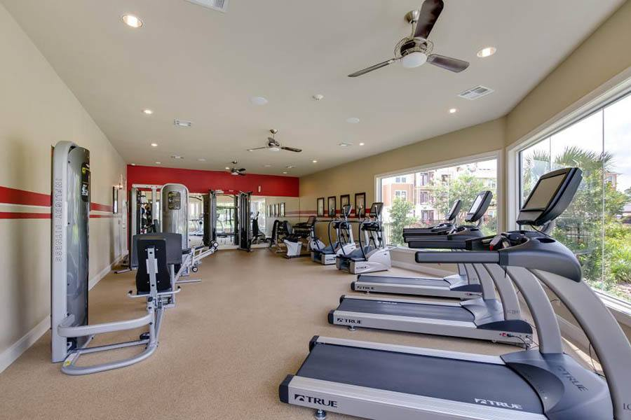 Fitness center at apartments in San Marcos