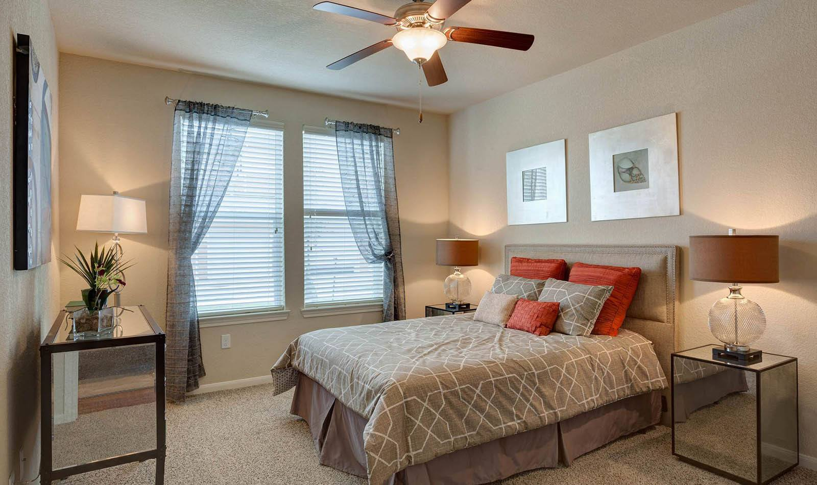 Bedroom at apartments in San Marcos, TX