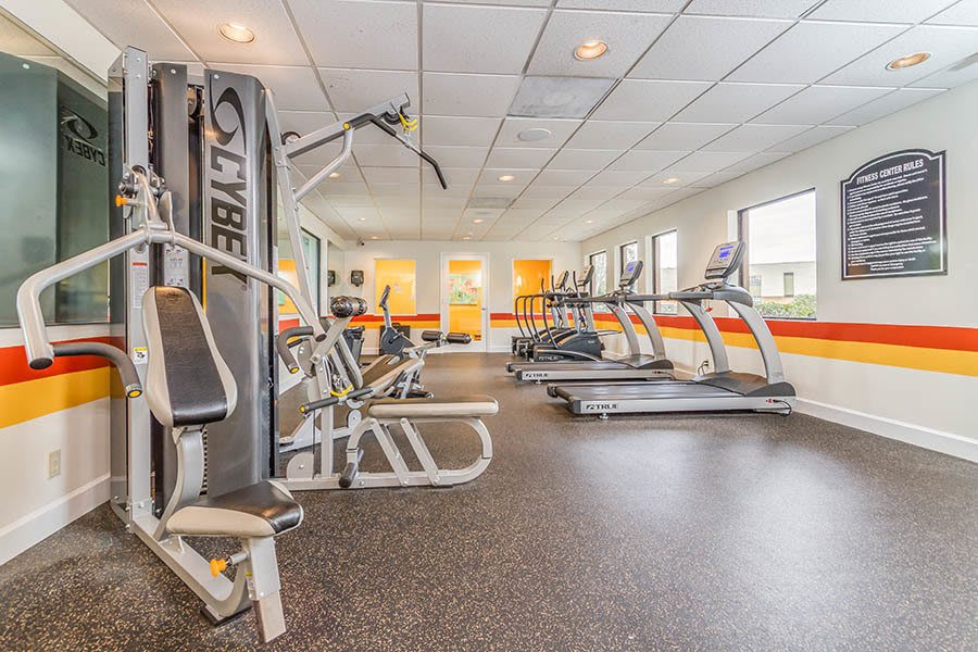 Fitness center at apartments in Palm Beach