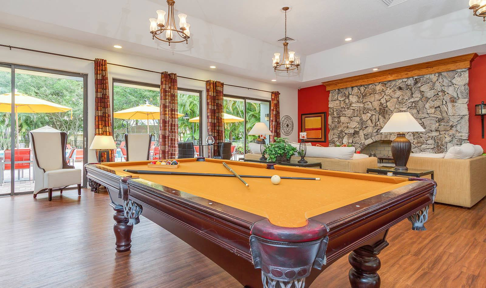 Pool table at apartments in Palm Beach, FL