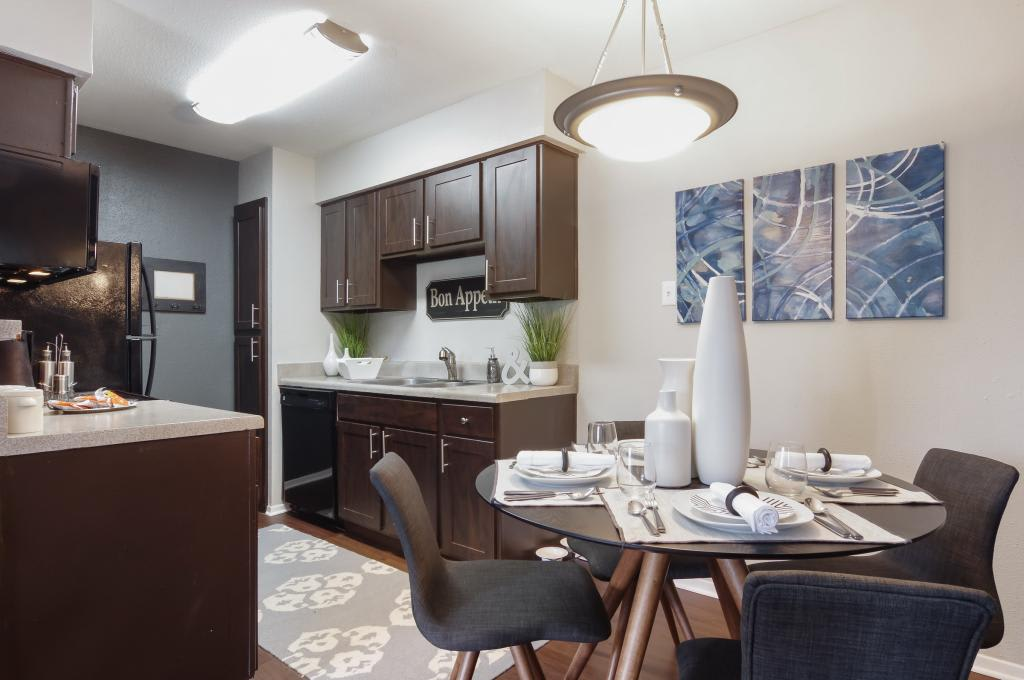 Dining room and kitchen at The Landings at Steeplechase in Houston, TX