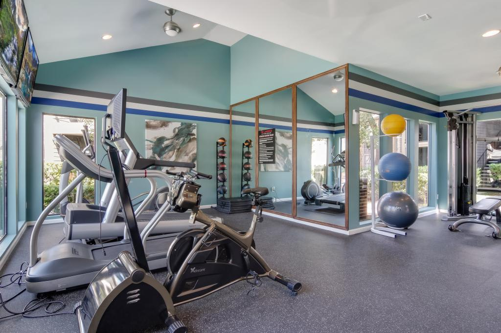 Fitness center at The Landings at Steeplechase in Houston, TX