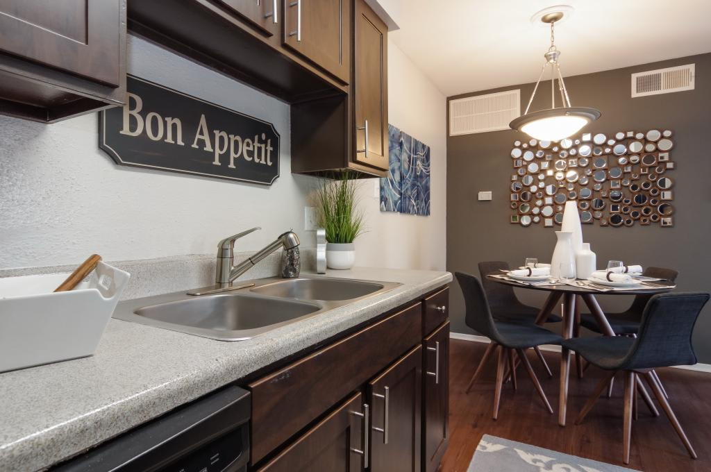 Kitchen and dining room at The Landings at Steeplechase in Houston, TX
